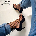 2017 Лето Гладиатор Сандалии Женщины Высокие Каблуки Кросс-привязанные Обувь Полые Сандалии Женщин Черные Сандалии Пятки Женская Обувь Большой Size40