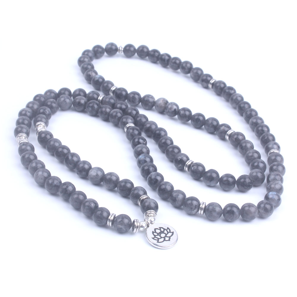 108 Bead Labradorite Mala Necklace (Buddha, Lotus, or OM) 4