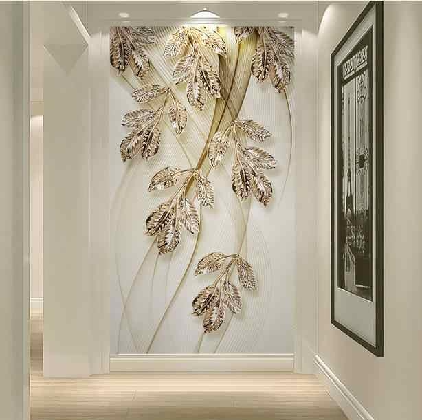 Custom Photo 3d Wall Mural Modern Leaf Lines 3d Wallpaper Gold Wallpaper For Living Room Bedroom Home Decor