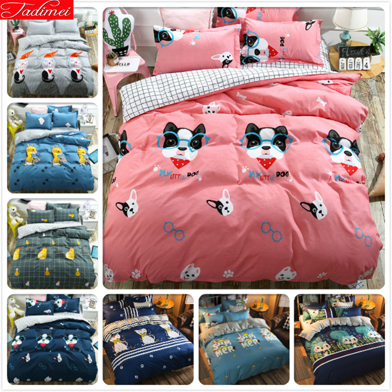 Adult Kids Child 3/4 pcs Bedding Set Pink Dog Pattern Plaid Duvet Cover Soft Cotton Bed Linens Single Twin Full Queen King SizeAdult Kids Child 3/4 pcs Bedding Set Pink Dog Pattern Plaid Duvet Cover Soft Cotton Bed Linens Single Twin Full Queen King Size