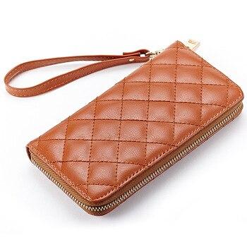 Diseñador de lujo de las mujeres billeteras de cuero de vaca Split moda Casual Plaid patrón de la cartera de las mujeres con cremallera embrague monedero carteira