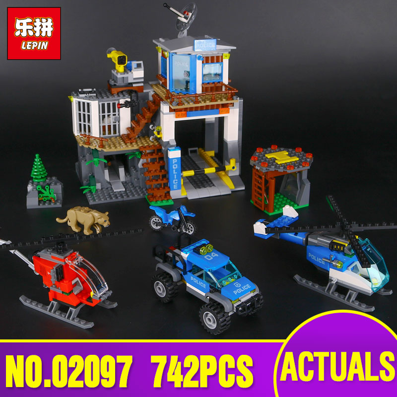 Lepin 02097 City Series The Mountain Police Headquater Set legoing 60174 Building Blocks Bricks Toys Model As Gifts For Kids kaygoo building blocks aircraft airplane ship bus tank police city military carrier 8 in 1 model kids toys best kids xmas gifts