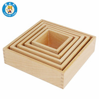Montessori Wooden Baby Children Toys Early Education Teaching Aids Kids Nesting Box Stacked High