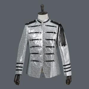 Image 4 - גברים חליפת מעיל משפט שמלת PerforMence גברים של טוקסידו להראות פאייטים כסף לבן שחור אדום Mens בלייזר מעיל יחיד חזה