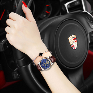Image 4 - Moda feminina relógios de marca superior luxruy lige relógio automático mulher à prova dwaterproof água relógio esporte senhoras couro negócios relógio de pulso