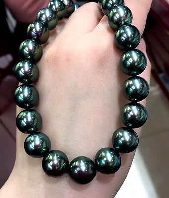 17 AAA 11-12MM SOUTH SEA ROUND BLACK GREEN PEARL NECKLACE >Selling jewerly free shipping