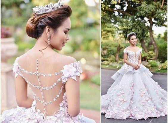 Ruffle Ball Gown Wedding Dress: Light Blue Pink Cap Sleeves Flowers Lace Applique Ruffles
