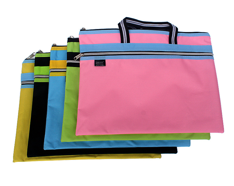 2017 new zipper Oxford cloth document file bag large sizes waterproof double layer holder computer folders filling products zigzag stripe zipper file holder