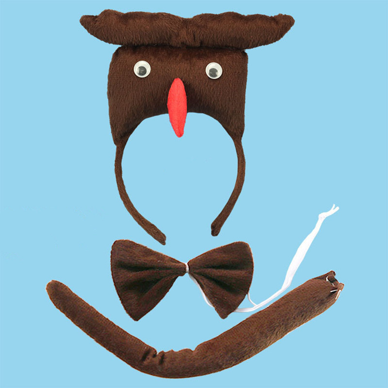 2018 Children Adult 3D Animal Night Owl Headband Headdress Bow Tie Tail Costume Set Cosplay Props Party Dress Supplies Purim