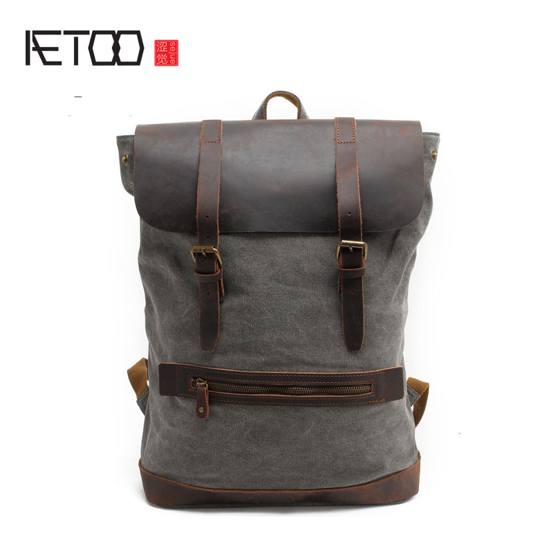 AETOO Men 's cotton canvas shoulder bag travel leisure mountaineering backpack 15.6 - inch computer bag with leather henry cotton s бермуды
