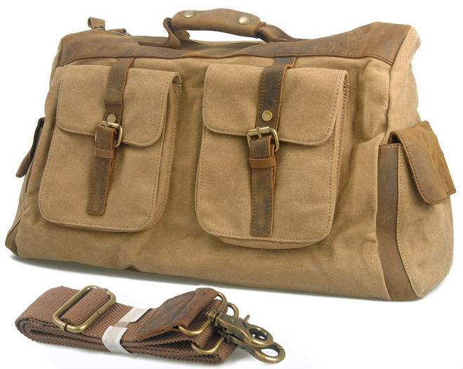 Vintage Retro military canvas leather men travel bags luggage bags Men Duffle Bags leather overnight Bag