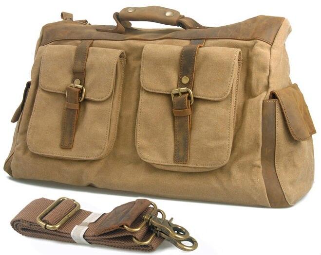 Bagaj ve Çantalar'ten Seyahat Çantaları'de Vintage Retro askeri tuval deri erkek seyahat çantaları bagaj çantaları Erkekler silindir çanta deri seyahat çantası Tote bagaj'da  Grup 1