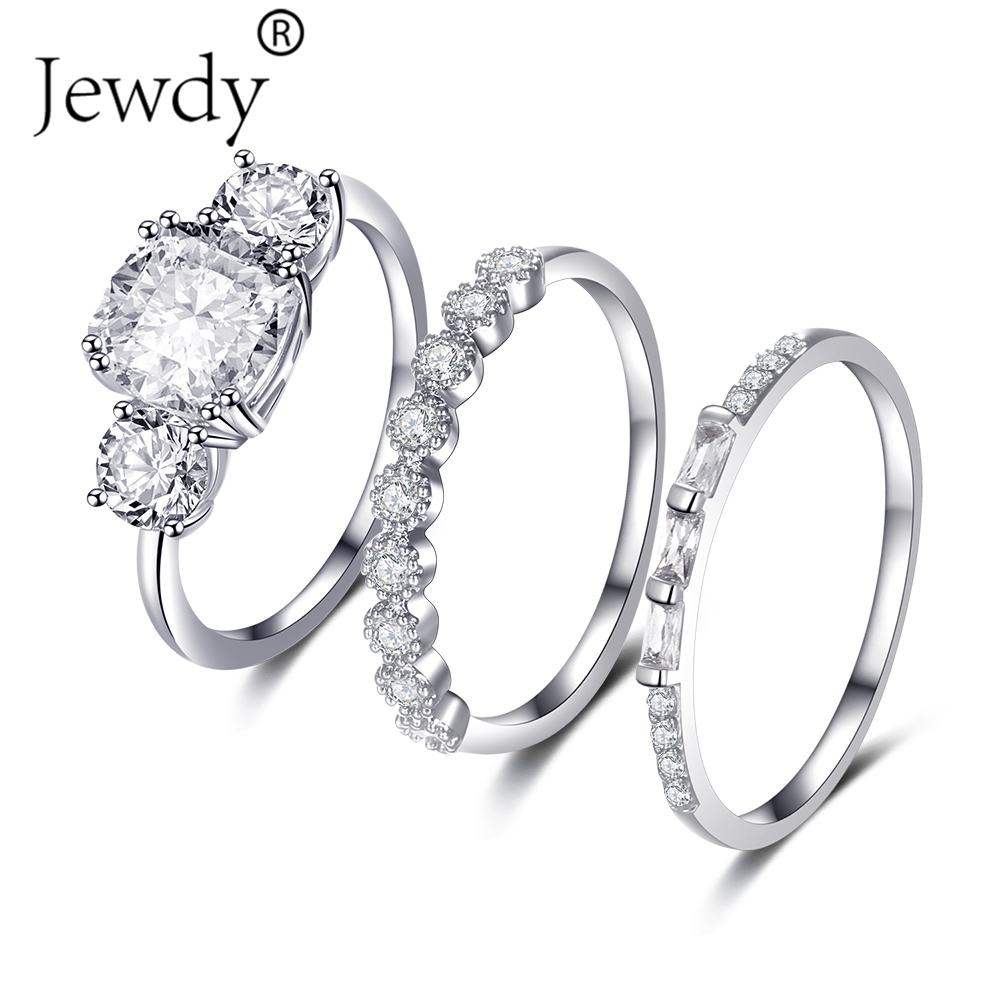 3 PCS/SET Silver Wedding Rings Set For Women Cubic Zircon Jewelry Bague Bijoux Femme Luxury Engagement Ring Accessories Size 6-8