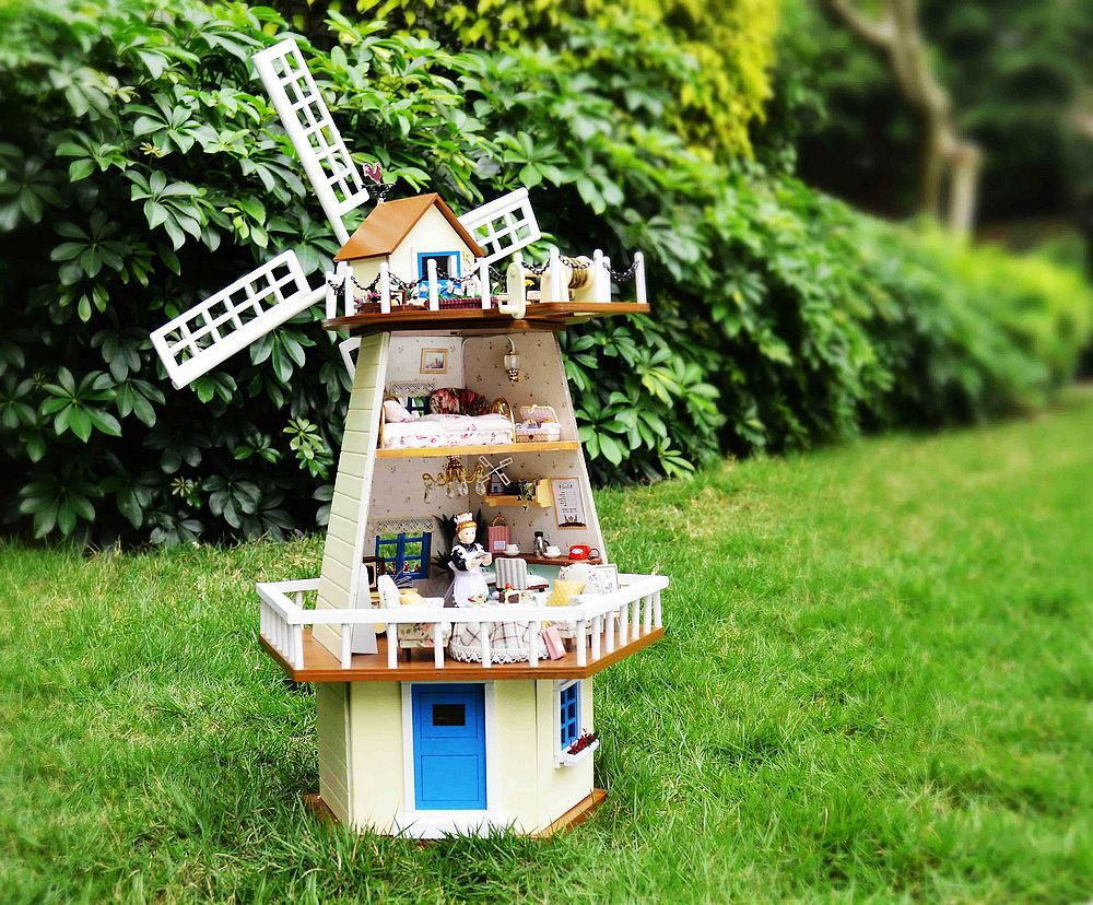 Free Shipping Diy Doll House waiting for manual assembly rotating windmill villa wooden model building monsoon