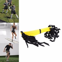 Durable 12 Rung 18 Feet 6m Agility Ladder For Soccer Speed Training PP Material Yellow Football