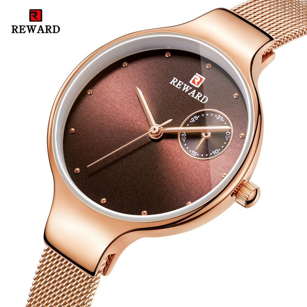 REWARD Luxury Women Watches Fashion Rose Gold Watch Ultra-thin Bracelet Womens Watches Slim Steel Mesh Clock bayan kol saatiREWARD Luxury Women Watches Fashion Rose Gold Watch Ultra-thin Bracelet Womens Watches Slim Steel Mesh Clock bayan kol saati