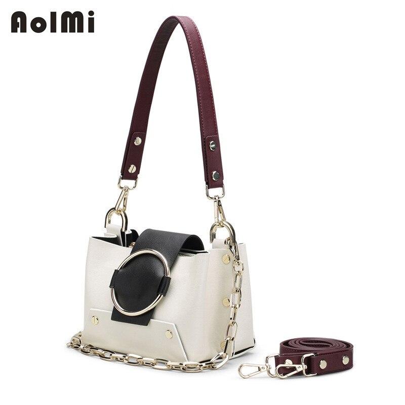 AolMi 2018 NEW Round Ring Bag Small Flap Rivet Shoulder Bag Women Hit Color Chain Tote Handbag Genuine Leather Messenger Bags