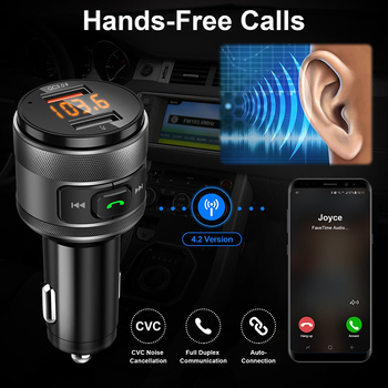 VicTsing Bluetooth FM Transmitter Car QC3.0 3.4A Wireless FM Transmitter Music MP3 Player Car Kit Radio Adapter with Hands-Free