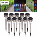 1x 10x Outdoor LED Solar Landscape Path Light Garden Stainless Steel Yard Lamp 6 Colorful Cool/Warm White/Green/Blue/Red lampada