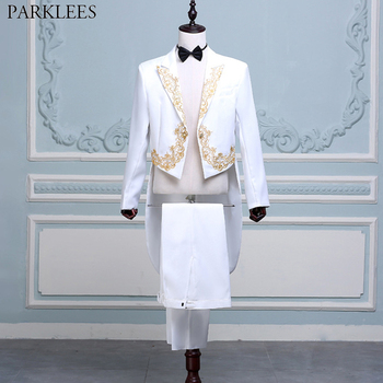 Mens 4 Pcs White Tuxedo Suits (Jacket+Pants+Blet+Tie) Brand Gold Embroidery Conductor Magician Pianist Prom Tailcoat Suit Male