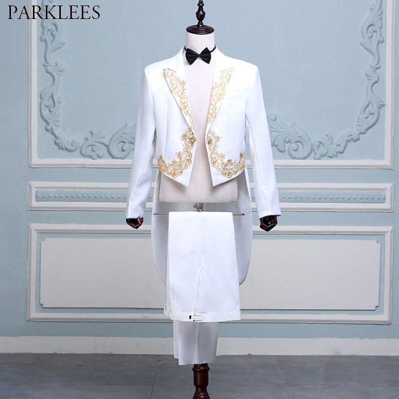 Pour hommes 4 pièces Blanc Costumes de Smoking (Veste + Pantalon + Ceinture + Cravate) Marque de Broderie D'or Conducteur Magicien Pianiste Bal Pie Costume Homme