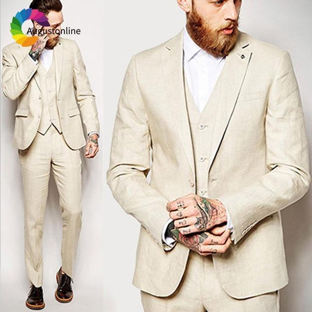 b7e0bfeec238 Beige Linen Men Suits for Wedding Beach Slim Fit Groom Tuxedos Custom Made  Best Man Blazers Prom Wear 3Peice Jacket Pants Vest