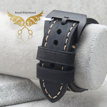 20mm 22mm 24mm 26mm New Top Grade Quality Grey Genuine Leather Watch Band Strap With Black Brushed Steel Buckle Clasp