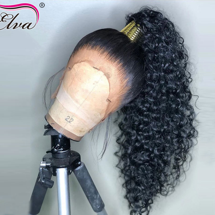 Elva 370 Lace Frontal Wigs Pre Plucked With Baby Hair Brazilian Curly Lace Front Human Hair Wigs For Black Women Remy Hair Wigs(China)