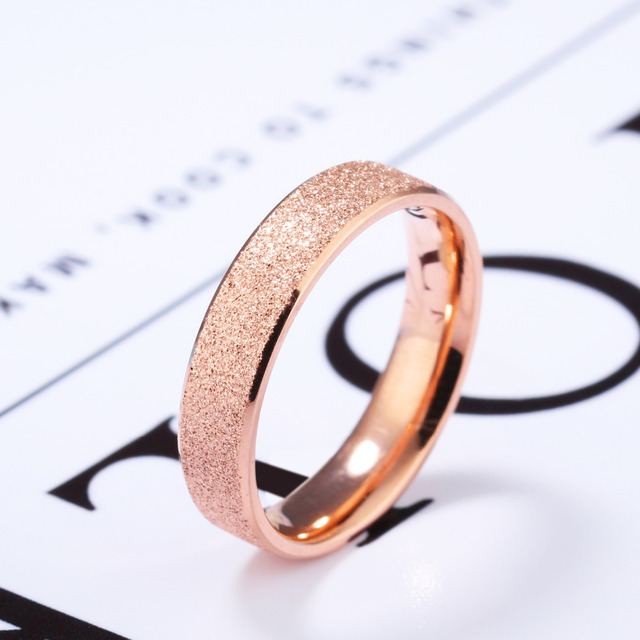 Rose Gold Frosted Finger Ring For Woman Wedding Jewelry Stainless Steel Unique Simple Band