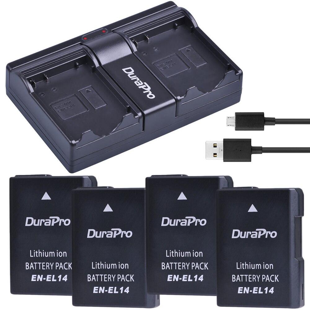 Durapro 4 pièces EN-EL14 ENEL14 EN EL14 Batterie + Double Chargeur USB pour Nikon D5200 D3100 Pour Nikon D3200 D5100 P7000 P7100 P7700