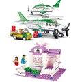 Diy brinquedos educativos para crianças Sluban blocos avião de transporte de auto travamento tijolos compatíveis com Lego