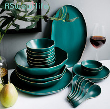 Light luxury Phnom Penh irregular ceramic dish cutlery set household rice bowl soup dishs plate For kitchen dishes