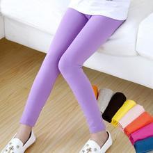 Модные леггинсы ярких цветов для девочек мягкие эластичные хлопковые леггинсы детские облегающие брюки для девочек От 2 до 13 лет костюм для девочек#14