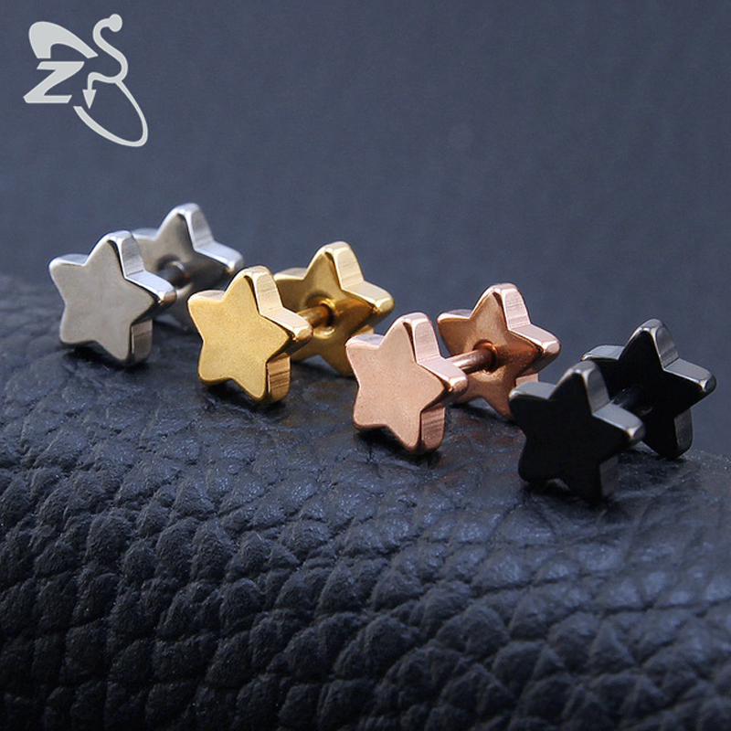 New Trendy Stainless Steel Barbell Ear Studs Classic Five-Pointed Star Earrings Sandblasted Screw Back Ear Piercing Body Jewelry