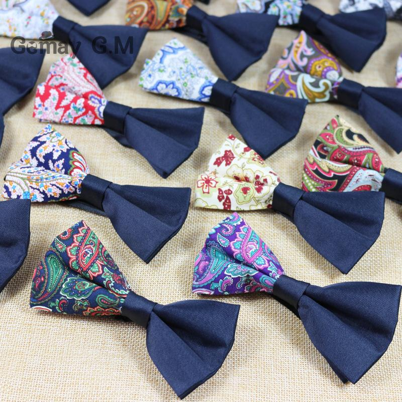 Fashion Wedding Bowties for Men Vintage Floral Men Cotton Bow Tie Printed Bowtie for Bridegroom Slim