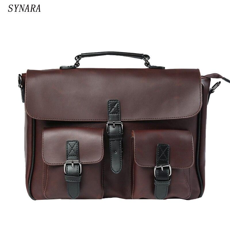 New 2019 high quality men handbags pu leather messenger bags men travel bags Metal zipper business