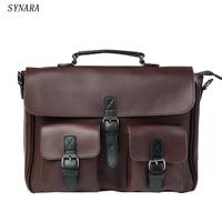 New 2015 High Quality Men Handbags Pu Leather Messenger Bags Men Travel Bags Metal Zipper Business