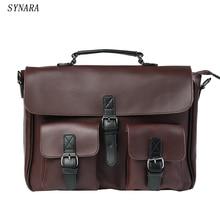 Высококачественные мужские сумки из кожи с металлической молнией