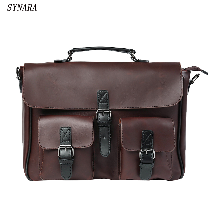 new 2017 high quality men handbags pu leather messenger bags men travel bags Metal zipper business Laptop shoulder bag