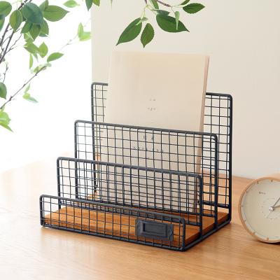 Nordic Fashion Office Organizer Book Stand Metal Mesh Magazine Holder Desk  Shelf Organizer