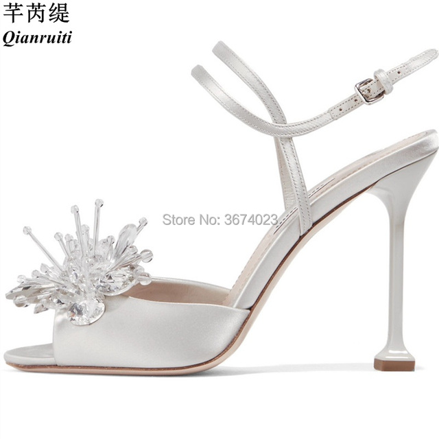 Qianruiti Women Wedding Satin Sandals Crystal Flower Shoes Architectural Stiletto  Heel Gladiator Ankle Strap Jewelry Sandals 676b5d9e8d4e
