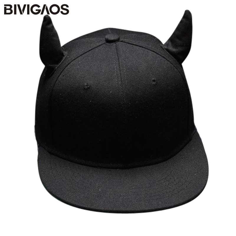 Fashion Men Womens Unisex Black Devil Ox Horn Ears Snapback Hats Hip Hop Cap Baseball Caps Russia Bone Chapeu For Men Women Cap 2017 new alan walker dj baseball cap alan walker with the return of men and women hip hop hats bone snapback cap