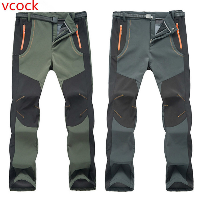 VCOCK Winter Men Women Hiking Camping Pants Outdoor Softshell Trousers  Waterproof Thermal for  Skiing Climbing