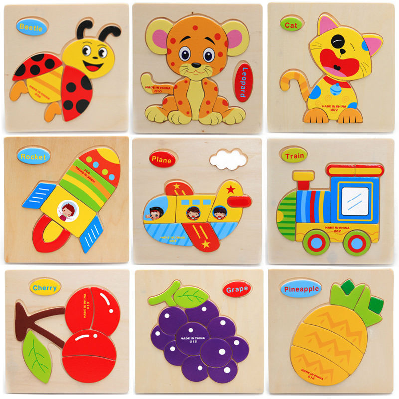 Retail Baby Children Educational Wooden Leker Puzzle Kids 15 * 15cm brinquedos educativos leketøy Puslespill for barn tre puslespill leker