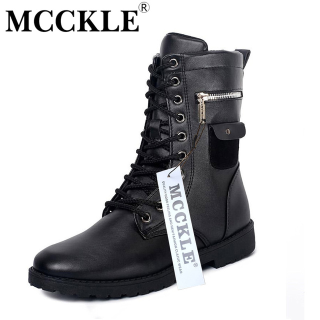 MCCKLE Military Combat Lace up Mid Calf High Credit Card Knife Money Wallet Pocket Boots Brand Design Fashion Casual Men Shoes