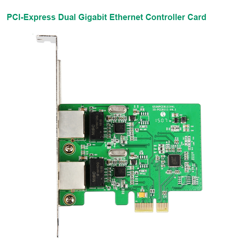 PCI-Express To 2 Gigabit Ethernet Controller Card RTL8111 Chips With Low Profile Bracket