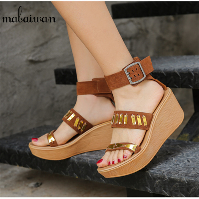 Mabaiwan New Platform Sandals Wedges Shoes For Women High Heels Sandalias Mujer Summer Shoes Genuine Leather Wedge Heels SandalsMabaiwan New Platform Sandals Wedges Shoes For Women High Heels Sandalias Mujer Summer Shoes Genuine Leather Wedge Heels Sandals