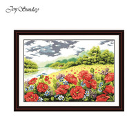 New Arrivsl Poppy Garden Cross Stitch Fabric DMC 11ct 14ct Cross Stitch Landscape Sets fot Embroidery Kits Wall Landscape Decor