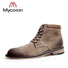 hot deal buy mycoron men shoes spring autumn ankle boots men new fashion comfortable work shoes men casual male martin boots male shoes
