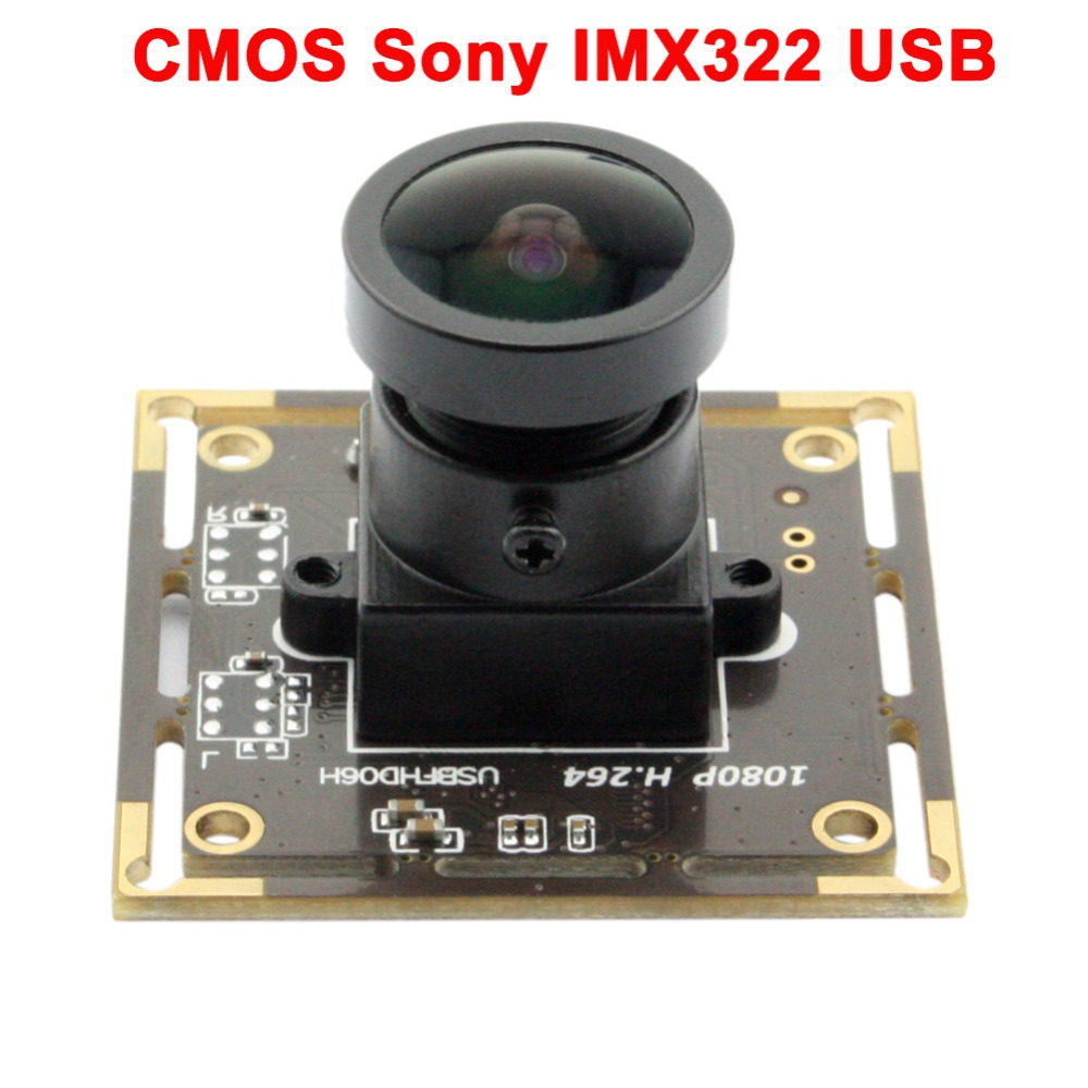 CMOS Sony IMX322 2mp 1080P usb camera module Wide angle  150 degree fisheye lens  USB board-in Surveillance Cameras from Security & Protection    1